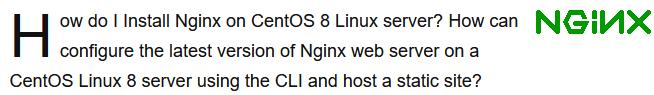 Install Nginx on CentOS 8 - Best Method ?