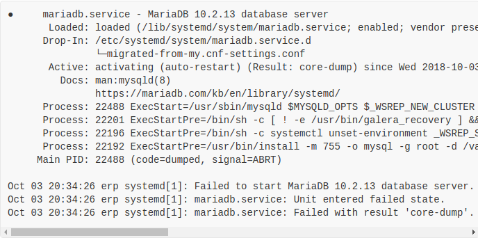 Job for mariadb.service failed because the control process exited with error code - How to fix it ?