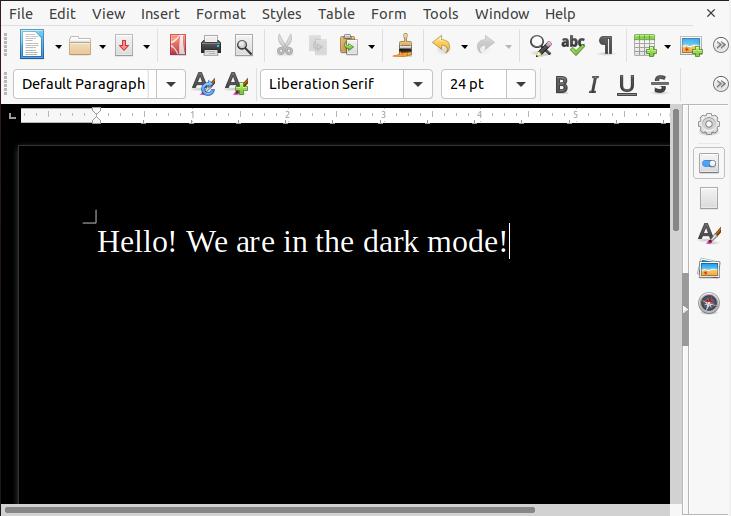 Enable dark mode in latest LibreOffice under Ubuntu 20.04 LTS