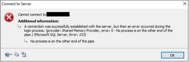 Fix SQL server error 233 in Microsoft
